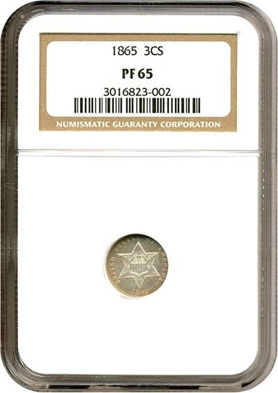 Image of 1865 3cS  NGC Proof 65