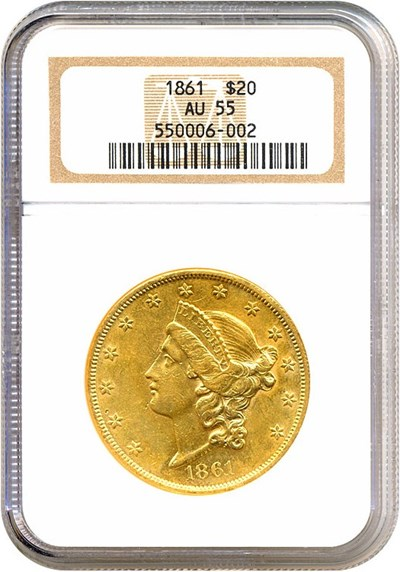 Image of 1861 $20  NGC AU55