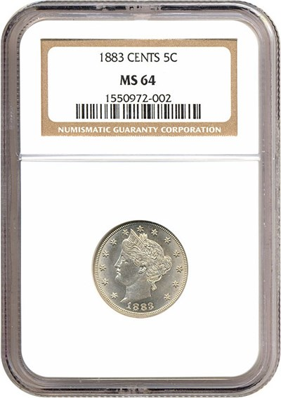 Image of 1883 5c With Cents NGC MS64