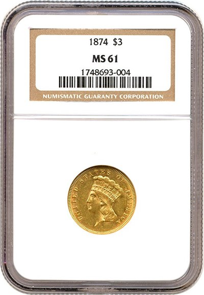 Image of 1874 $3  NGC MS61