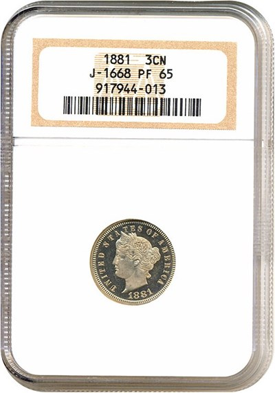 Image of 1881 3C Judd-1668 NGC Proof 65