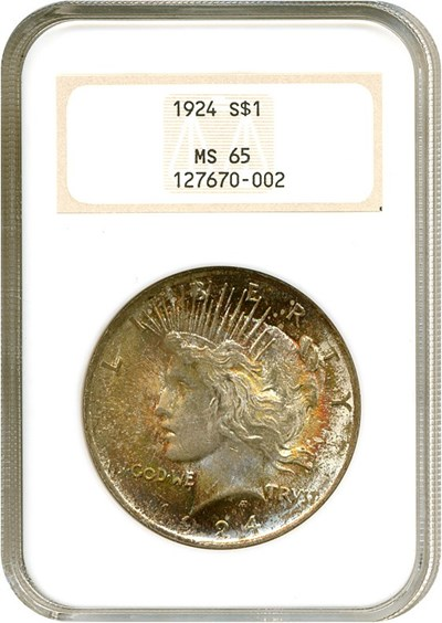 Image of 1924 $1  NGC MS65 ** Color **