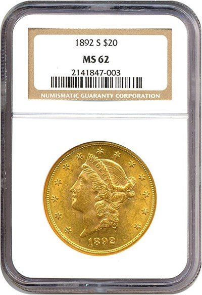Image of 1892-S $20  NGC MS62