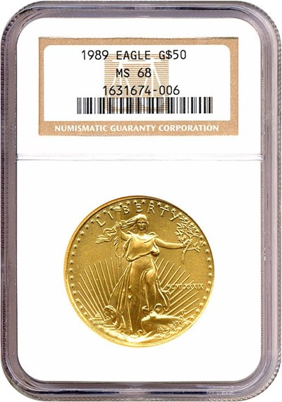 Image of 1989 $50 Gold Eagle NGC MS68