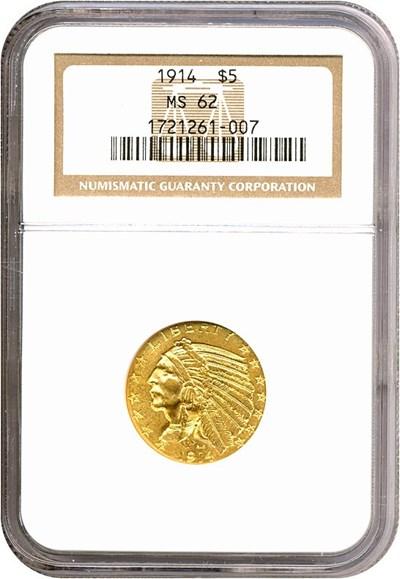 Image of 1914 $5  NGC MS62
