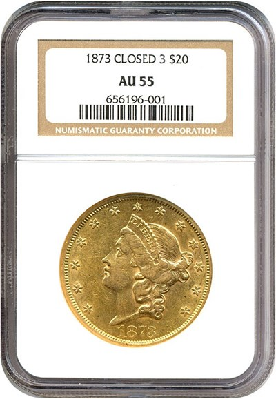 Image of 1873 $20 Closed 3 NGC AU55