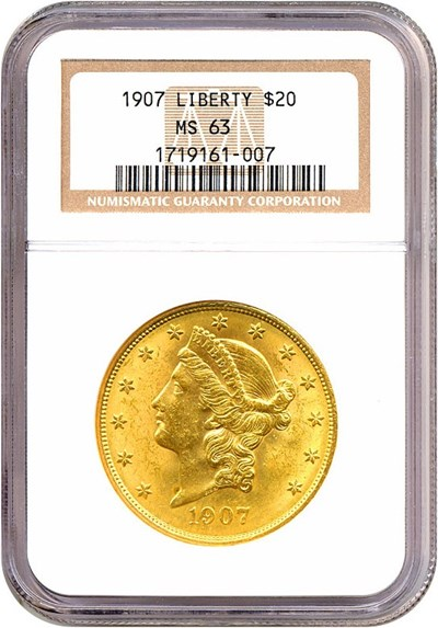 Image of 1907 $20 Liberty NGC MS63