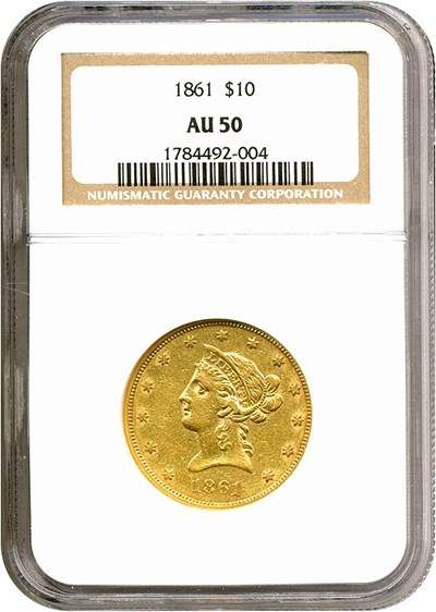 Image of 1861 $10  NGC AU50
