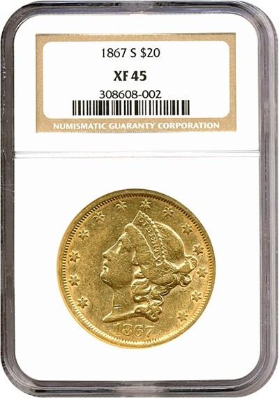 Image of 1867-S $20  NGC XF45