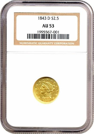 Image of 1843-D $2 1/2  NGC AU53