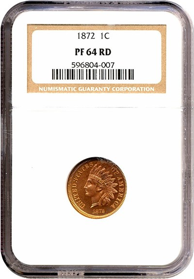 Image of 1872 1c  NGC Proof 64 RD