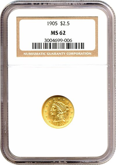 Image of 1905 $2 1/2  NGC MS62