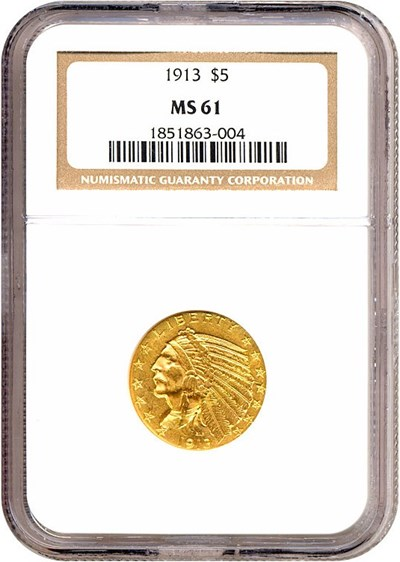Image of 1913 $5  NGC MS61