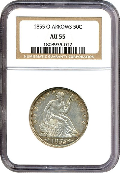 Image of 1855-O 50c Arrows NGC AU55