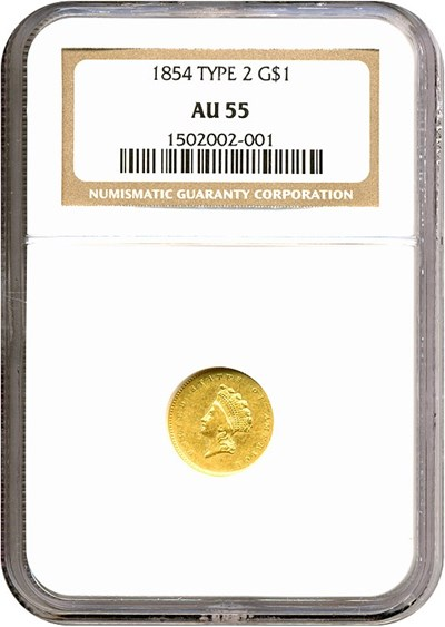 Image of 1854 G$1 Ty.2 NGC AU55