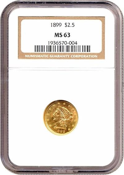 Image of 1899 $2 1/2  NGC MS63