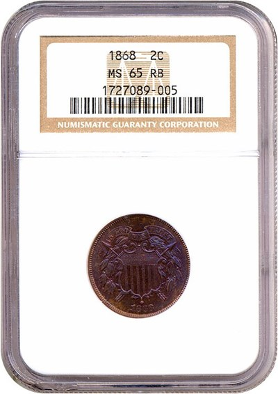 Image of 1868 2c  NGC MS65 RB *Color*