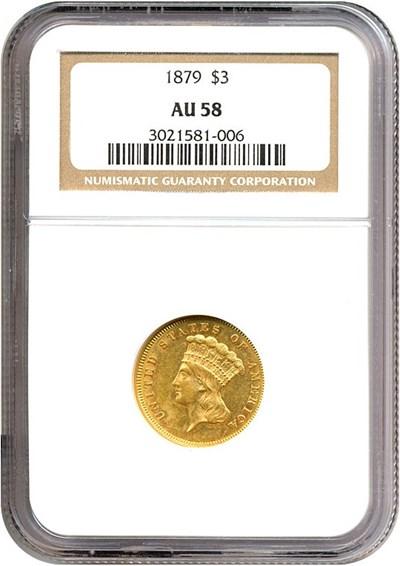 Image of 1879 $3  NGC AU58