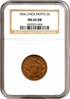Image of 1864 2c Large Motto NGC MS65 RB