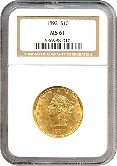 Image of 1892 $10  NGC MS61