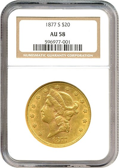 Image of 1877-S $20  NGC AU58