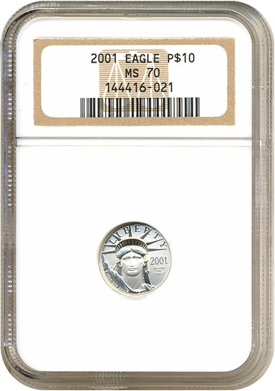 Image of 2001 $10 Platinum Eagle NGC MS70