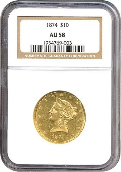 Image of 1874 $10  NGC AU58