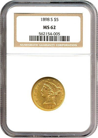 Image of 1898-S $5  NGC MS62