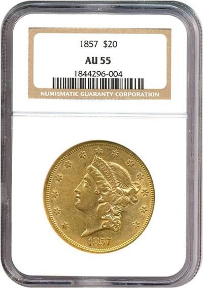 Image of 1857 $20  NGC AU55