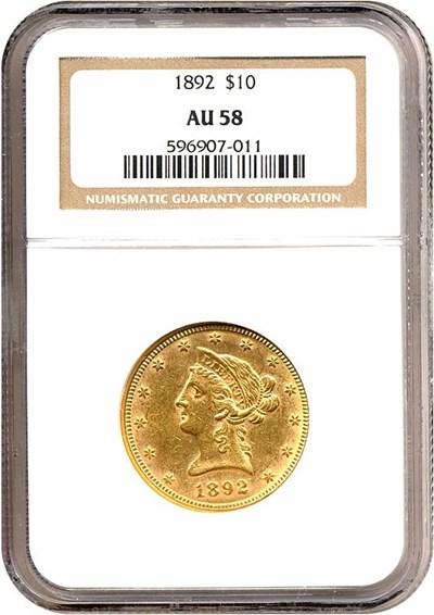 Image of 1892 $10  NGC AU58