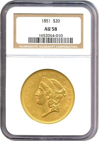 Image of 1851 $20  NGC AU58