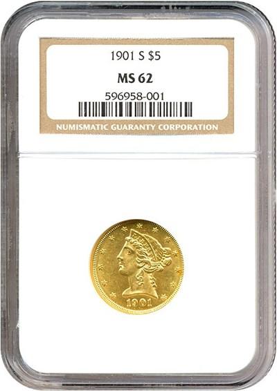 Image of 1901-S $5  NGC MS62
