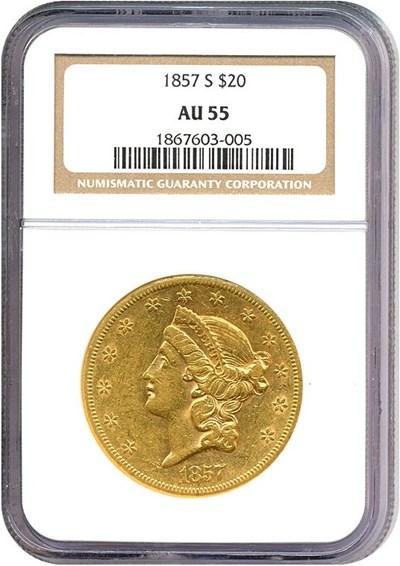 Image of 1857-S $20  NGC AU55