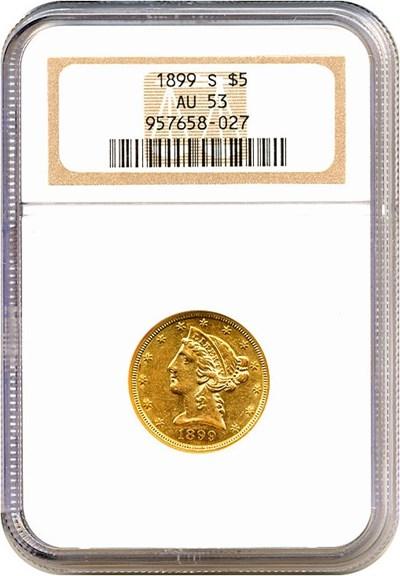 Image of 1899-S $5  NGC AU53