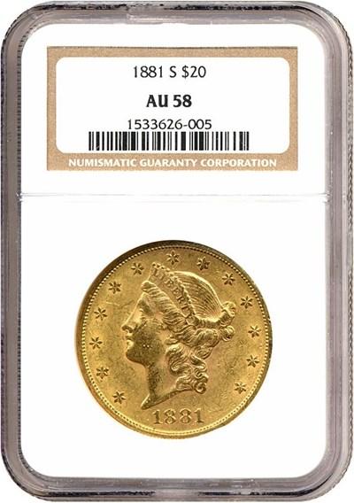 Image of 1881-S $20  NGC AU58