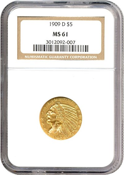 Image of 1909-D $5  NGC MS61
