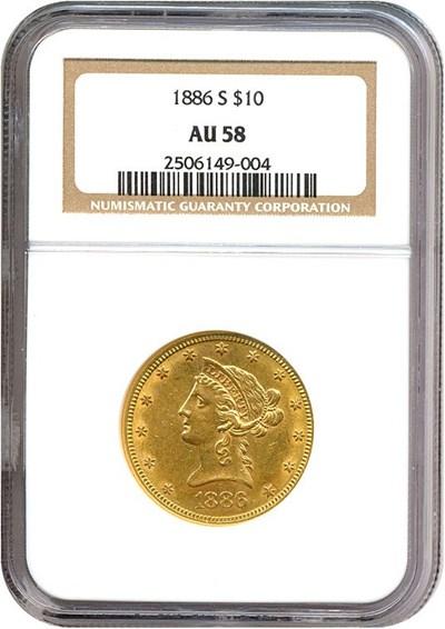 Image of 1886-S $10  NGC AU58