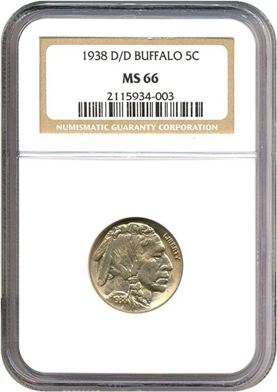 Image of 1938-D/D 5c Buffalo NGC MS66