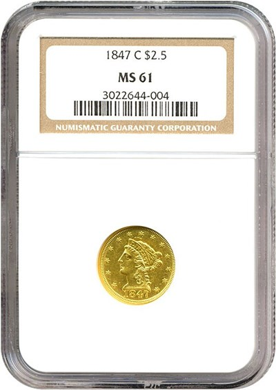 Image of 1847-C $2 1/2  NGC MS61