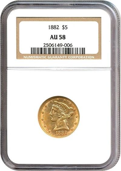 Image of 1882 $5  NGC AU58