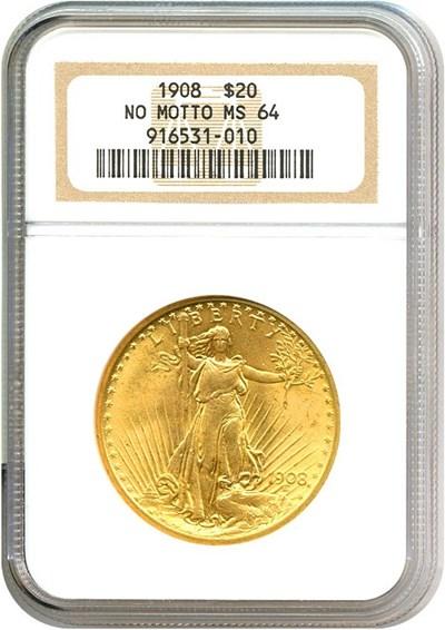 Image of 1908 $20 N/M NGC MS64