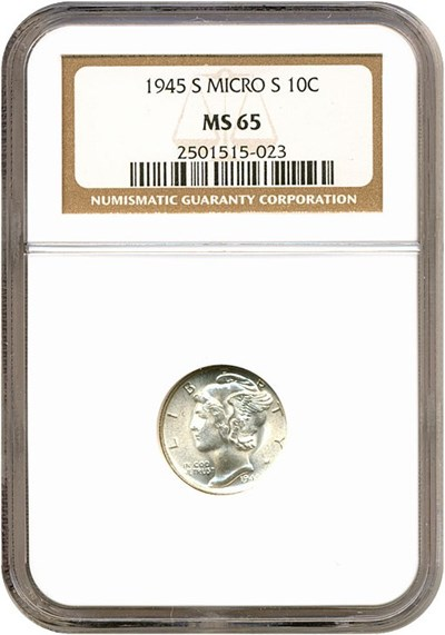 Image of 1945-S 10c Micro S NGC MS65