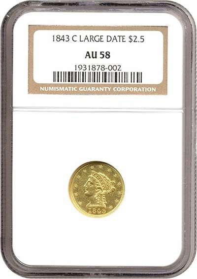 Image of 1843-C $2 1/2 Large Date NGC AU58