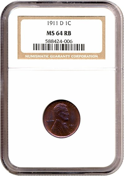 Image of 1911-D 1c  NGC MS64 RB **Color**