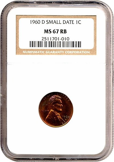 Image of 1960-D 1c Small Date NGC MS67 RB *Color*