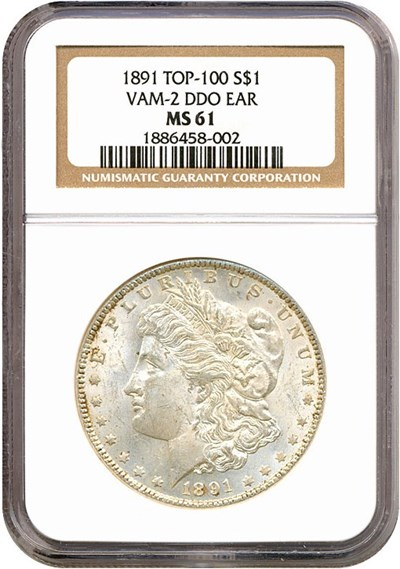 Image of Top 100 VAM: 1891 $1 VAM 2  Doubled Ear NGC MS61