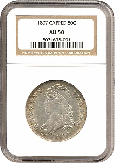 Image of 1807 50c 50/20 Capped Bust NGC AU50