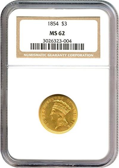 Image of 1854 $3  NGC MS62