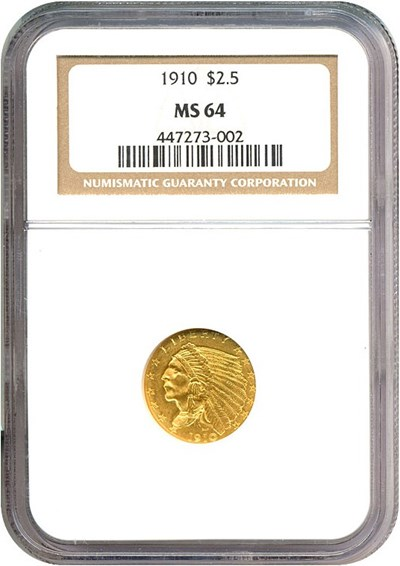 Image of 1910 $2 1/2  NGC MS64