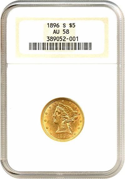Image of 1896-S $5  NGC AU58